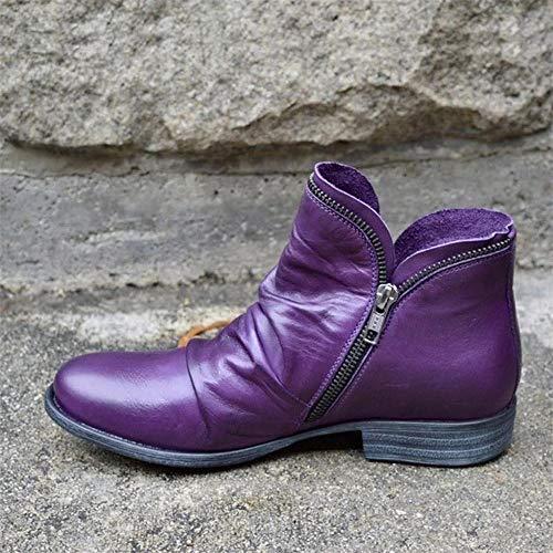 MTHDD Frauen Stiefel Leder Stiefeletten Flache Schuhe Herbst Winter Schneeschuhe Plattform Reißverschluss Punk Stiefel Damen Schuhe,Lila,38
