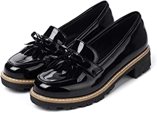 Womens Patent Leather Slip on Flat Oxfords Shoes Fringe Comfort Low Heel Penny Loafers