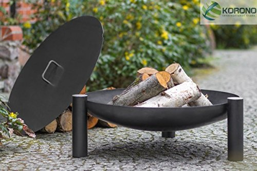 Korono Feuerschale Feuerschüssel mit Deckel 70 cm auf 3 Beinen Stahl - Lagerfeuer & stilvolle Beleuchtung