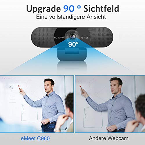 eMeet Full HD Webcam - C960 1080P Webcam mit Dual Mikrofon, 90 ° Streaming Kamera mit automatischer Lichtkorrektur, Plug & Play, für Linux, Win10, Mac OS X, YouTube, Skype, zum Konferenz