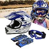 SLMOTO Dot Youth Kids Helmet Motocross Offroad Street Helmet Motorcycle Helmet Dirt Bike Motocross ATV Blue Flame Design Helmet+Goggles+Gloves Large