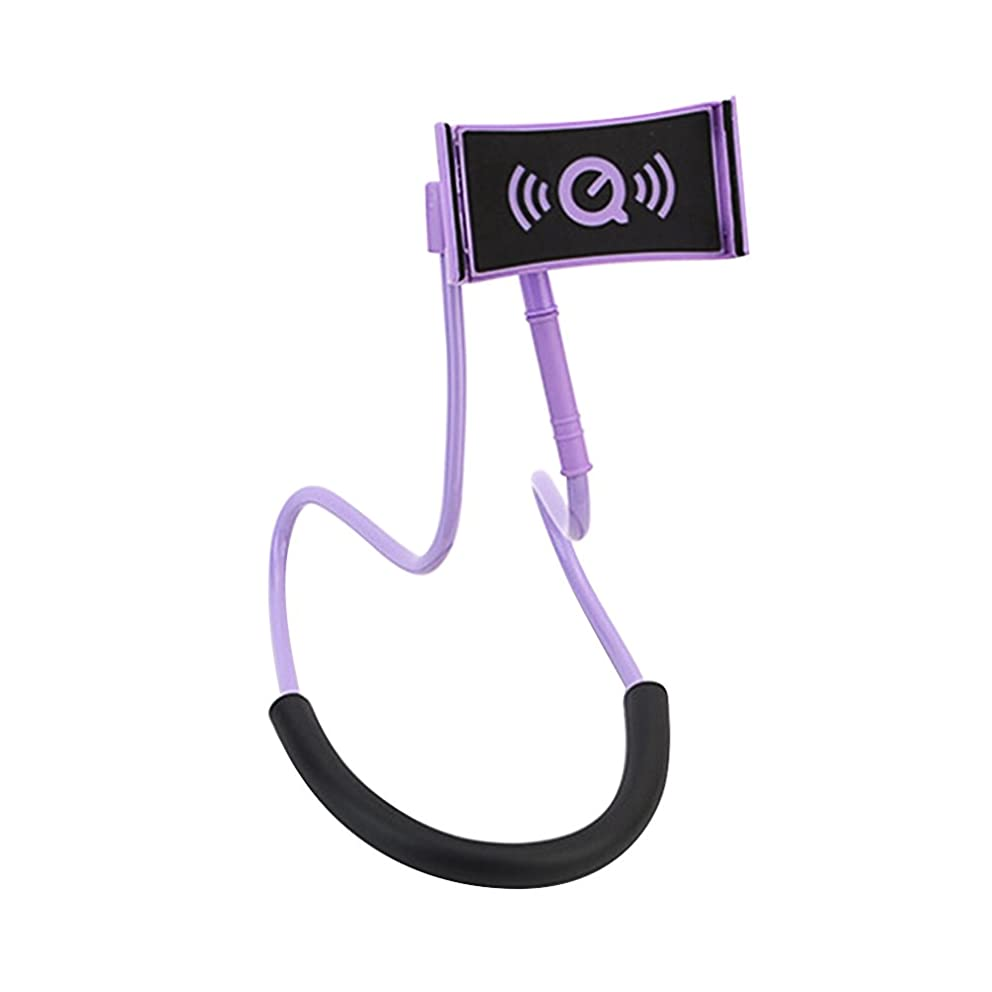 UKCOCO Universal Hanging on Neck Lazy Phone Holder DIY Free Rotating Stand on Table Smart Multiple Functions Mobile Phone Mount Stand Lazy Bracket (Purple)