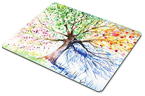 Colorful Tree Four Seasons Mouse pad by Smooffly,Berry Green Red Yellow Navy Brown Personality Desings Gaming Mouse Pad Photo #4