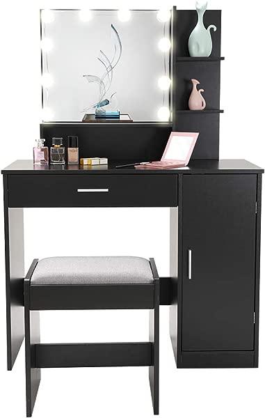 梳妆台套装带 10 个灯泡化妆台梳妆台 1 大抽屉 1 个收纳柜 1 个卧室浴室黑色软垫凳子