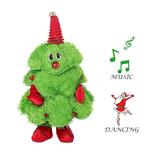 Symeas Árbol de Navidad eléctrico Cantando Bailando Sombrero de Santa/Árbol de Navidad Juguete de Peluche Musical Divertido Adorno de Navidad Estatuilla Relleno niños