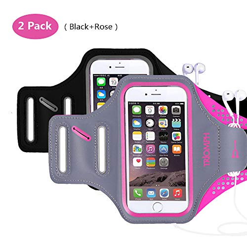 Triomph Armband for iPhone 8, 7, 6, 6S, SE, 5, 5C, 5S iPod Galaxy S6, S6 Edge S5 with Screen Protecter and Key Cards Money Holder, for Running, Workouts, Jogging, Hiking, Biking, Walking (Black+Rose)