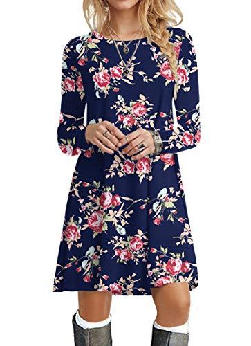 POPYOUNG Women's Long Sleeve T Shirt Dresses Casual Swing Dress M, Rose Blue