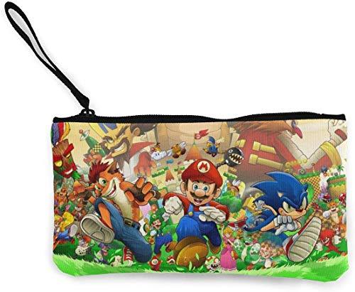 Super Mario en Sonic The Hedgehog portemonnee (Canvas Zipper Make Up Pouches) met armband, tasje voor mobiele telefoon