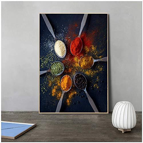 Schwarzer Hintergrund und 6-Farben-Gewürz Leinwand Malerei Wandkunst Bild Poster und Drucke Wandbilder für Küche Raumdekor Z59 60x90cm
