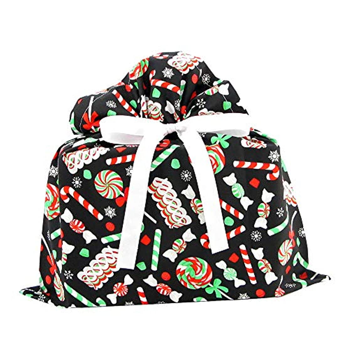 Christmas Candy on Black Reusable Fabric Gift Bag (Medium 17 Inches Wide by 18.5 Inches High)