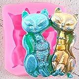 UNIYA Molde de silicona 3D con forma de zorro, para hacer bombones, para decoración de fiestas, animales, cupcakes, fondant, tartas, herramientas de decoración