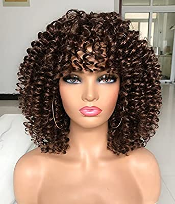 ANNIVIA Short Curly Wig for Black Women with Bangs Big Bouncy Fluffy Kinky Curly Wig…