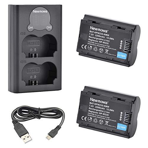 Newmowa NP-W235 Batería de Repuesto (Paquete de 2) y Smart LCD Cargador Dual USB para Fujifilm X-T4