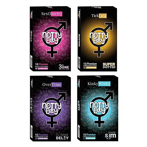 NottyBoy Condoms Non Flavored Variety Value Action Combo Pack 40 Ct (Combo of Multi Textured, Extra Dotted, Super Slim & Climax delay Condoms)