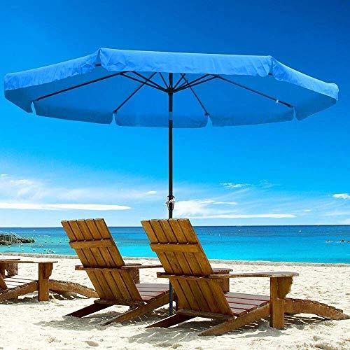 NMDD 3m Garten Sonnenschirme Regenschirm, Außenterrasse Pool Sonnenschirm, UV-Schutz Sonnenschirm, kippbarer Sonnenschirm mit Neigung & Kurbel, Metallstange mit 8 Rippen, Sonnenschutz (blau)