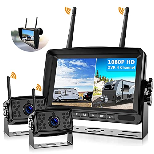 FHD 1080P 2 Digital Wireless Backup Camera System for RVs/Trailers/Trucks/Motorhomes/5th Wheels 4CH 7'' Monitor Highway Monitoring System IP69K Waterproof Super Night Vision Strong Signal