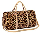 Nabegum Leopard Print Weekender Bags for Women,Travel Cute Cheetah Overnight Duffels Tote (Large brown)