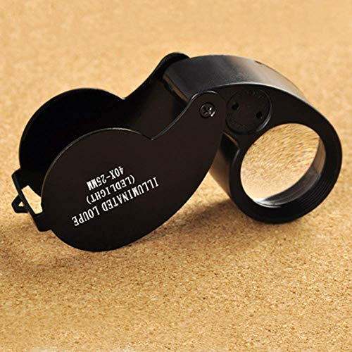 WZLJW Lupa joyería 40X 25mm Lupa Plegable portátil Mini llevó la Lupa...