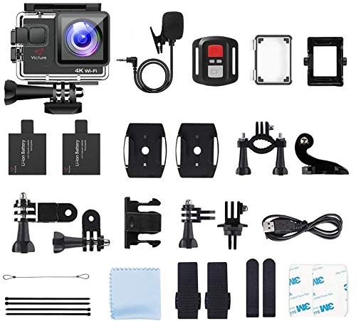 Victure Action Camera AC700 4K 30fps/20MP EIS Sports Action Camera PC Webcam with External Microphone Remote Control 40M Underwater Waterproof DV Camcorder with 2 Batteries and Mount Accessories