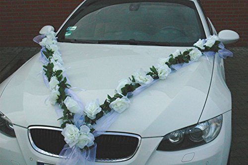 Autoschmuck - Due ghirlande di Rose Artificiali, Decorazione per Auto per Matrimonio (Bianco)