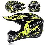 KAAM Casco de motocross para hombre con gafas, guantes y máscara, casco de moto para mujer y hombre, casco de carreras Enduro Downhill Dirt Bikes ATV MTB BMX Quad moto Offroad (amarillo, XL)