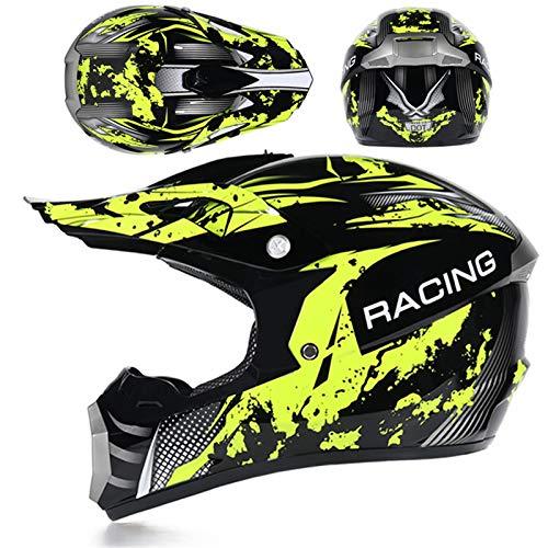 KAAM Casco de motocross para hombre con gafas, guantes y máscara, casco...