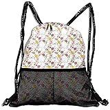 AZXGGV Drawstring Backpack Rucksack Shoulder Bags Gym Bag Sport Bag,Tulips And Poppy Flowers Romantic Arrangement Valentines Day Themed Illustration