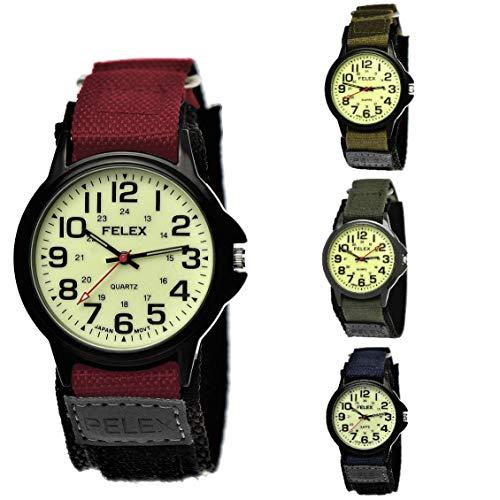 NY London Camouflage Kinder-Uhr Jungen-Uhr Mädchen-Uhr leuchtendes Ziffernblatt Kinder Analog Textil Nylon Armband-Uhr Schwarz Rot Blau Japanisches Qualitäts Uhrwerk (Ny-Rot)