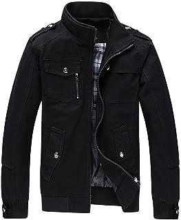 Semo1mus ミリタリージャケット メンズ スタンドカラー ライダースジャケット コート スウェット 長袖 綿 防風 秋冬