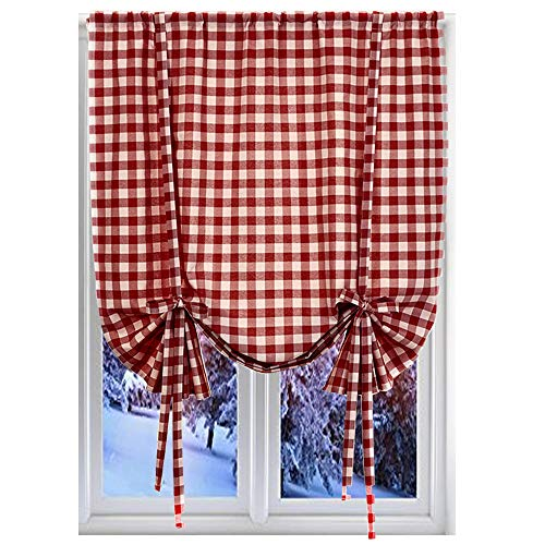 """Buffalo Check Plaid Window Curtains for Living Room, Bedroom, Kitchen, Burgundy, 42"""" x 63"""""""