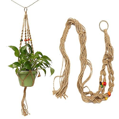 BephaMart 42 Inch Kleur Kralen Bloempot Plant Hanger Macrame Jute Touw Tuin Decoratieve Koord met Haak