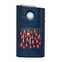glo グロー グロウ 専用 レザーケース レザーカバー タバコ ケース カバー 合皮 ハードケース カバー 収納 デザイン 革 皮 BLUE ブルー ラグジュアリー 数字 赤 005501