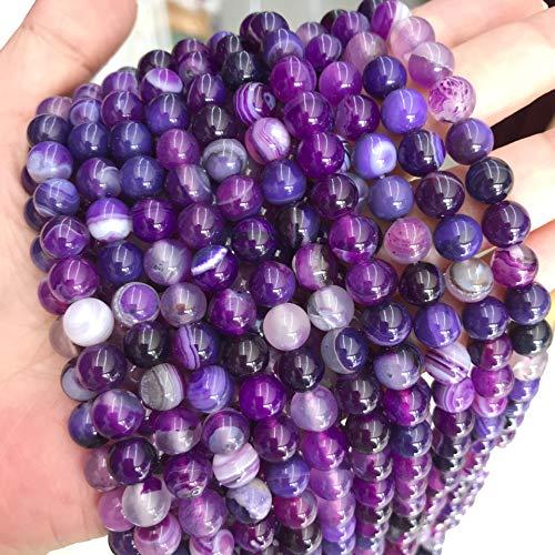 Perle striate di agata naturale, 8 mm, 6 mm, 4 mm, lucidate e opache, sferiche, per la realizzazione di gioielli, collane e bracciali, colori assortiti (8 mm, 15 pezzi, viola lucido)