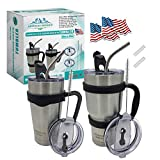 2 Pack Stainless Steel Tumbler Vacuum Insulated Rambler Coffee Cup Double Wall Travel Mug Like Yeti+4 Spill Proof Lids,2 Handles,2 Straws,2 Brush,2 Straw Tips,2Stickers (Black set, 30oz & 20oz)