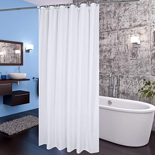 Aoohome Fabric Shower Curtain 72x78 Inch, Extra Long Shower Curtain Liner for Hotel with Hooks, Waterproof, White, 72 Width x 78 Height Inch