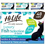 HiLife it's only natural - Wet Cat Food - Luxury Fish Selection in Sauce - 100% Natural and Grain Free, 48 Cans x 70g