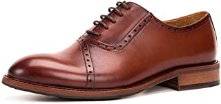 Shoes Comfortable Mens Handmade Leather lace Oxford Shoes Suit Mens Shoes Hair Stylist Leather Shoes Business Dress Shoes Fashion (Color : Coffee, Size : 6-UK)