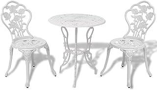 vidaXL Bistro Set 3 Pieces White Cast Aluminium Outdoor Patio Dining Furniture