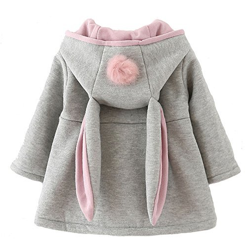 Urtrend Baby Girl's Toddler Fall Winter Coat Jacket Outerwear Ears Hoodie(6,Gray)