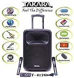 TAKARA Karaoke Speaker T-4112 Portable 12 Inch Trolley Speaker Multimedia Bluetooth Speaker,
