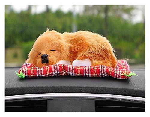 Yubingqin Ornamento del Coche Precioso Perro de Peluche Automotive Menaje del Perrito el Dormir Juguete Lindo Adornos Automóvil Accesorios Tablero de Instrumentos (Color : Brown)