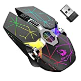 Wireless Gaming Mouse Rechargeable,RGB Multi-Colour Backlit Game Mice with 7 Buttons Computer Accessories,2.4G Silent Optical,3 Adjustable DPI Game Mouse Power Saving Mode for Laptop/PC/Notebook