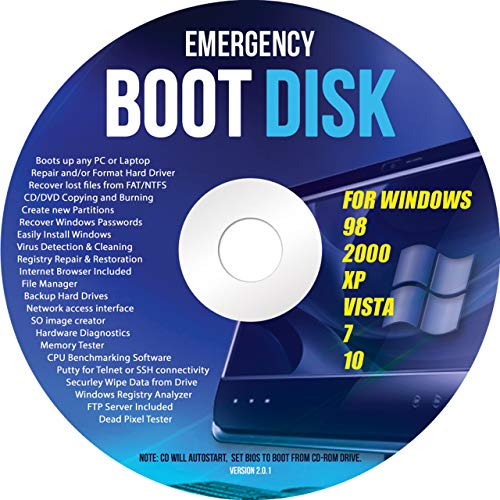 Ralix Windows Emergency Boot Disk - For Windows 98, 2000, XP, Vista, 7, 10 PC Repair DVD All in One Tool (Latest Version)