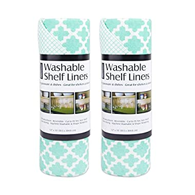 DII Non Adhesive Cut to Fit Machine Washable Shelf Liner Paper for Cabinets, Kitchen Shelves, Drawers, Set of 2, 12 x 10 - Aqua Lattice