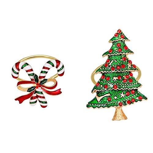 Weihnachts Serviettenringe, 2er Pack Weihnachtsbaum Krücke Serviettenhalter Ringe Esstisch Einstellungen für Weihnachtsferien Thanksgiving Hochzeitsbankett Geburtstag Täglich