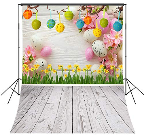 LB 5x7ft Vinyl Fabric Spring Easter Backdrops for Photography, Rustic Wood Colorful Eggs Spring Flowers Background Kids Newborn Photoshoot Background Baby Shower Party Decor Banner Photo Booth Prop