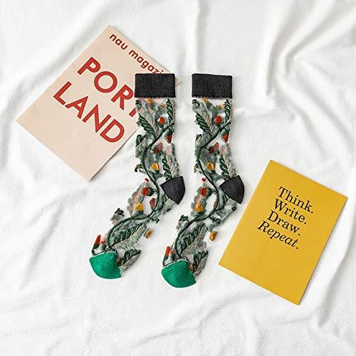 2 Pares de Calcetines de Moda Divertida Flor de Vid de Girasol Calcetines de Mujer Feliz Calcetines Casuales Black