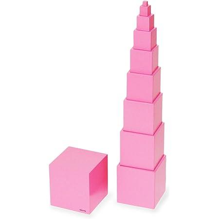 【MONTE Kids】モンテッソーリ教具 -- ピンクタワー 小 家庭用サイズ -- Montessori 知育玩具教具 幼児早期教育 モンテキッズ 本格教材 算数 おもちゃ モンテッソーリ教具 -- ピンクタワー 小