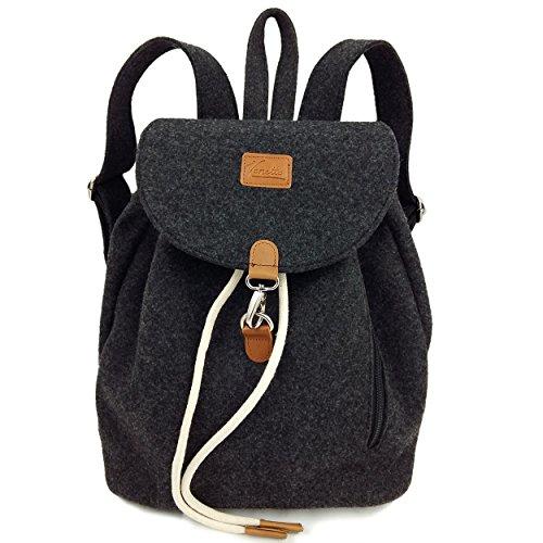 Venetto Designer Rucksack aus Filz mit Leder Applikationen sehr leicht Backpack Unisex (Schwarz meliert)