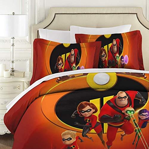 The Incredibles - Colcha acolchada de patchwork (3 piezas, 100% algodón, con fundas de almohada reversibles)